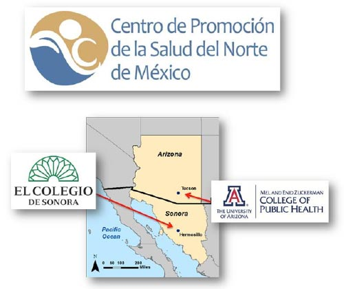Diagram of Meta Salud Partners: University of Arizona AzPRC and El Colegio de Sonora