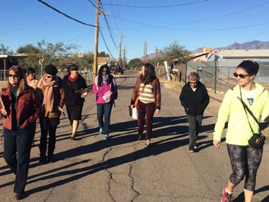 Living Streets Alliance conducts a Walk and Talk Workshop in a Tucson neighborhood
