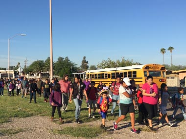 Mayor and Tucsonans on a Safe Routes to School walk